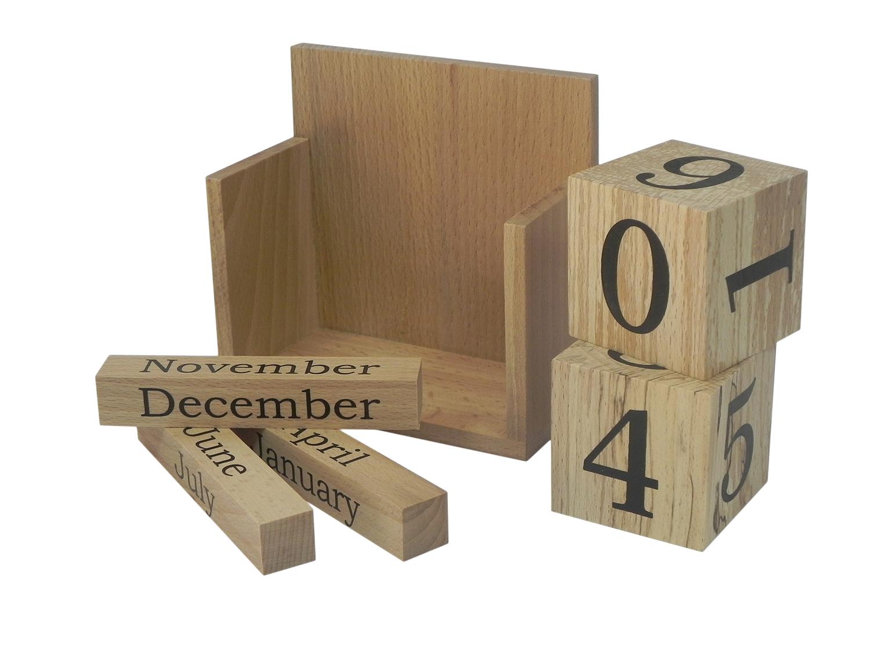 Solid Beech Wood Perpetual Calendar Desk Top Office Best Present