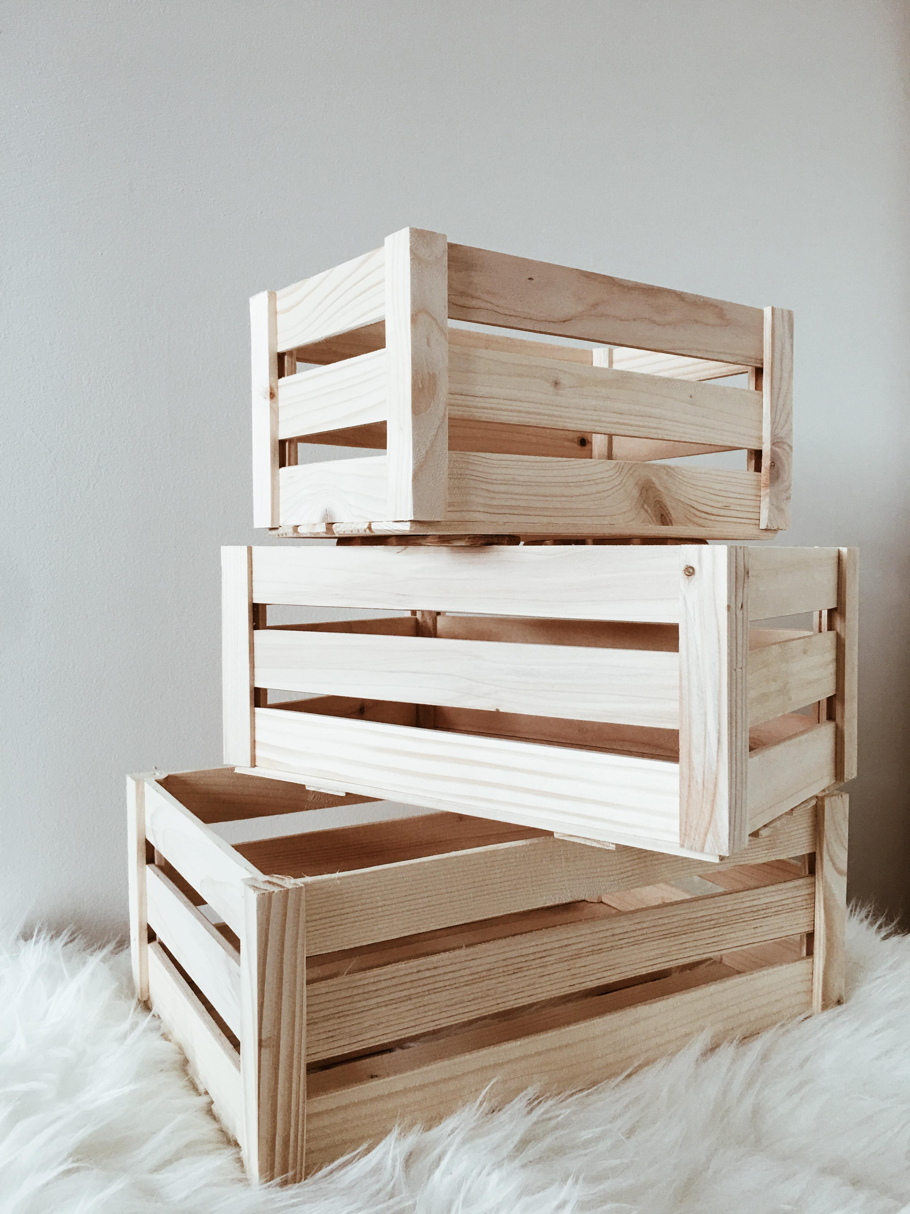 Plain Wooden Slatted Fruit Crates Containers in 3 Sizes Apple